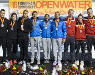 Podium - Team ITALY Gold medal - BRUNI Rachele, RUFFINI Simone, VANELLI Federico - Team GERMANY silver medal - WUNRAM Finnia, MUFFELS Rob, WASCHBURGER Andreas - Team HUNGARY bronze medal - RISZTOV Eva Fruzsina, PAPP Mark, SZEKELYI Daniel  Hoorn, Netherlands  LEN 2016 European Open Water Swimming Championships  Open Water Swimming 5km Team Event Mixed Day 03 13-07-2016 Photo Giorgio Perottino/Deepbluemedia/Insidefoto