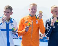 WEERTMAN Ferry NED gold medal, OLIVIER Marc-Antoine FRA bronze medal, GIANNIOTIS Spiros GRE silver medal Marathon Open Water Swimming men Rio de Janeiro  XXXI Olympic Games  Copacabana beach Open Water16/08/2016 Photo Giorgio Scala/Deepbluemedia/Insidefoto