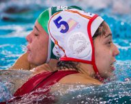 FINA Women's Water polo Olympic Games Qualifications Tournament 2016 Spain ESP (White) Vs South Africa RSA (Blue) 6 Christine Abrahams RSA 5 Mathilde  Ortiz ESP Gouda, Netherlands - Swimming pool Groenhovenbad Day4 24-03-2016 Photo P. Mesiano/Insidefoto/Deepbluemedia
