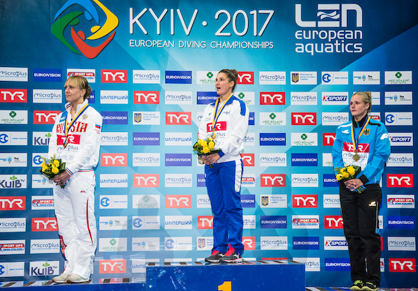 BERTOCCHI Elena ITA Gold Medal BAZHINA Nadezhda RUS Silver Medal STAWCZYNSKI Louisa GER Bronze Medal 1m Synchronised Women Final LEN European Diving Championships 2017 Sport Center LIKO, Kiev UKR Jun 12 - 18, 2017 Day06 17-06-2017 Photo © Giorgio Scala/Deepbluemedia/Insidefoto